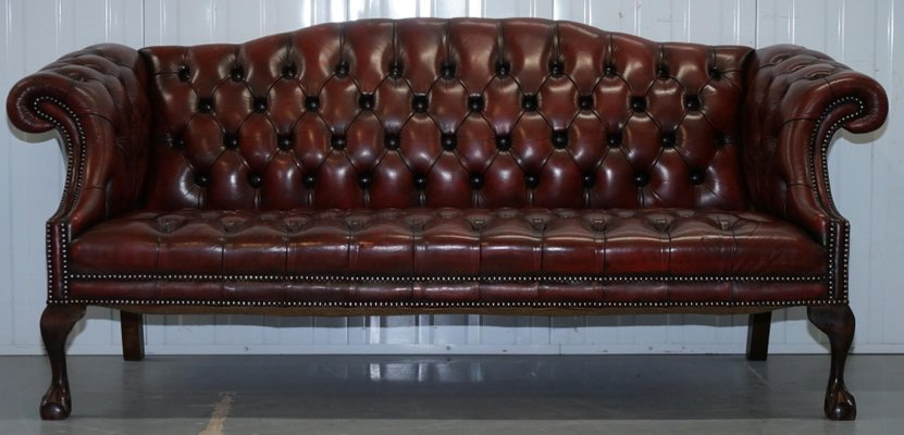 Antique Style Leather Chesterfield Sofas, 1950s, Set Of 2