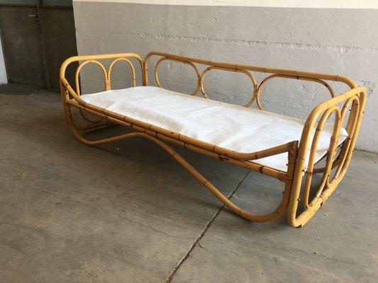Mid Century Modern Italian Bamboo Sofa Bed, 1970s