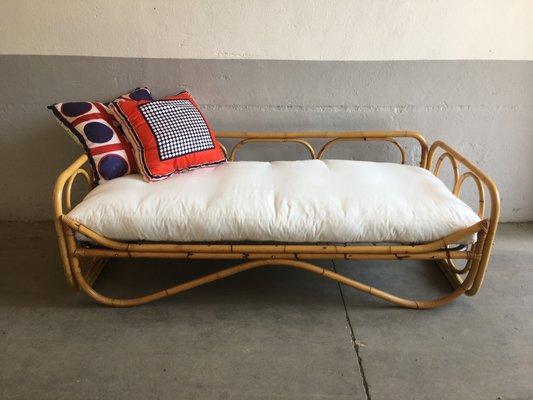 Mid-Century Modern Italian Bamboo Sofa Bed, 1970s