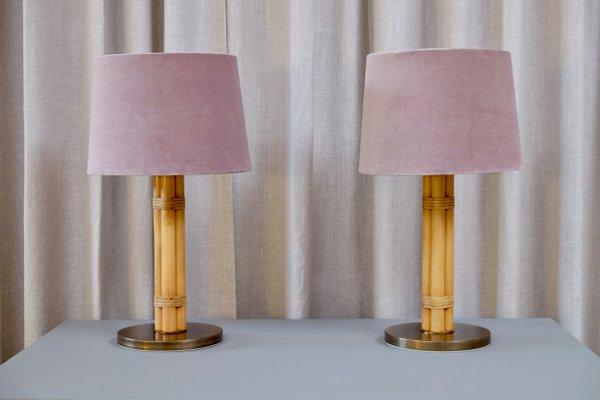 de latón 60Juego mesa de y de bambú suecas 2 de Lámparas Bergbomsaños gI76vYfby