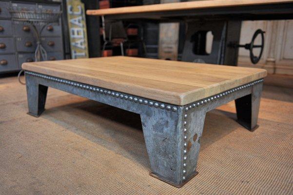 Basse Chêne1920s Table En Métal Vintage Industrielle Et O80wkPnX