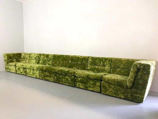 Modular Green Velvet Sofa Set, 1960s for sale at Pamono