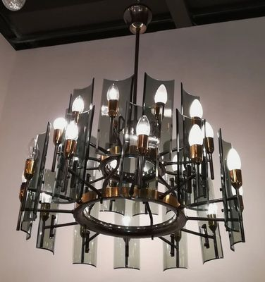 Br And Crystal 24 Light Chandelier 1950s