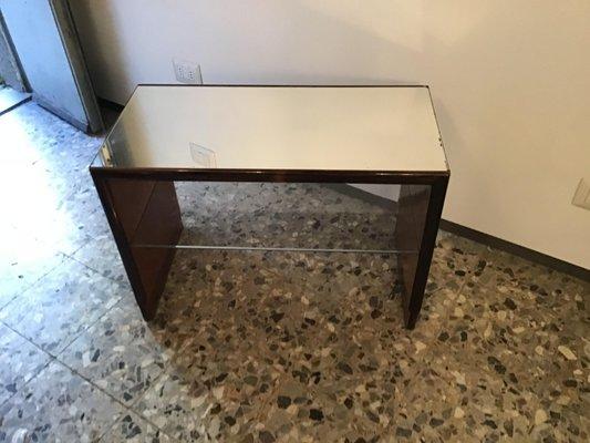 Tavolo in vetro specchiato e legno di noce di Osvaldo Borsani, anni \'40