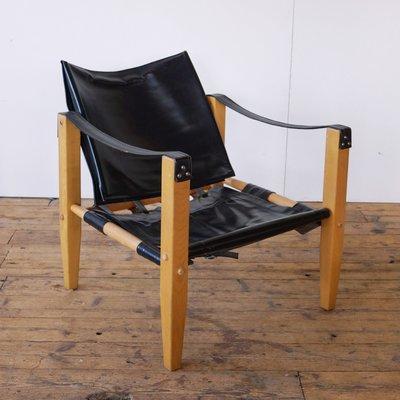Safari Black Leather Armchair From Artek, 1960s 1