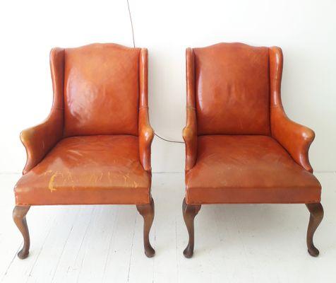 Amerikanischer Vintage Ledersessel Von Hickory Chair Co 1950er Bei