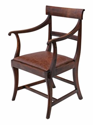 Incredible Antique Mahogany Elbow Desk Chair 1820S Ibusinesslaw Wood Chair Design Ideas Ibusinesslaworg