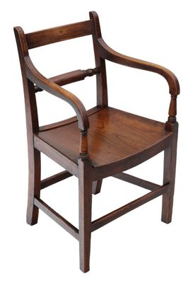 Swell Antique Georgian Elm Elbow Desk Chair 1800S Machost Co Dining Chair Design Ideas Machostcouk