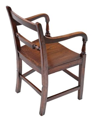 Remarkable Antique Georgian Elm Elbow Desk Chair 1800S Machost Co Dining Chair Design Ideas Machostcouk