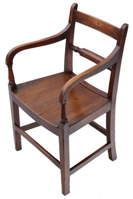 Wondrous Antique Georgian Elm Elbow Desk Chair 1800S Machost Co Dining Chair Design Ideas Machostcouk