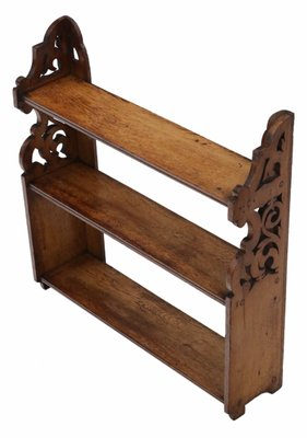Late Victorian Oak Open Bookcase 1890s 1