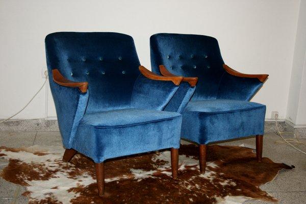 Blue Velvet Armchair, 1950s