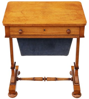 antique william iv birdseye maple sewing table 1830s 1