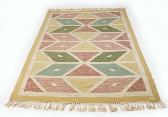 Mid Century Swedish Flat Weave Rug With Geometrical Pattern