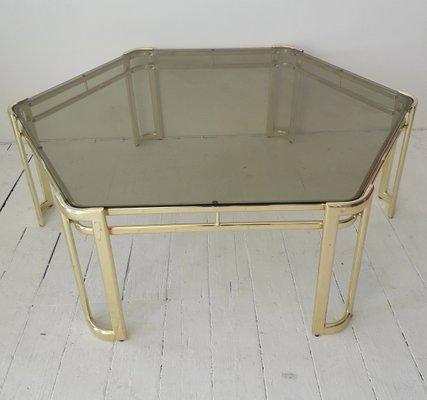 Grande Table Basse Hexagonale En Metal Dore Et Verre 1970s