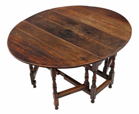Mesa de comedor abatible georgiana antigua grande de roble con patas ...