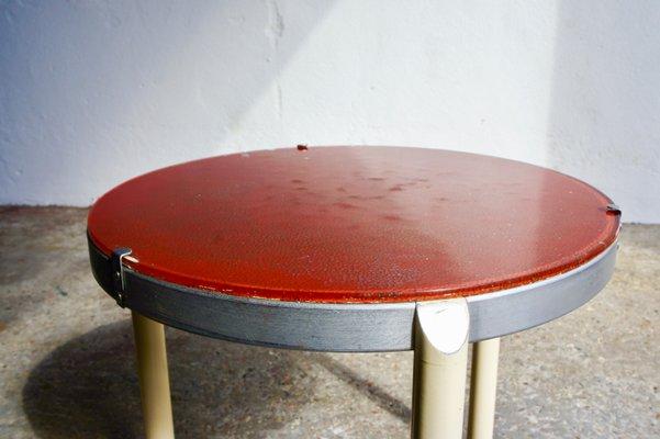 Awesome Circular Metal Glass Side Table 1940S Home Remodeling Inspirations Basidirectenergyitoicom