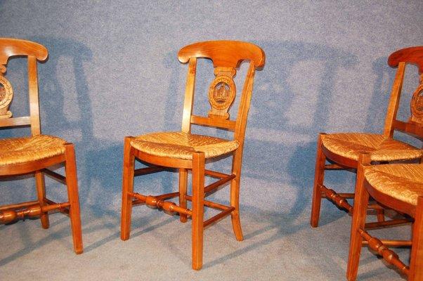 Salle A Manger Merisier.Chaises De Salle A Manger Antiques En Paille Et Merisier Set De 4