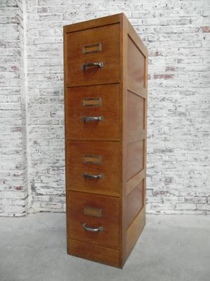 Vintage Oak 4 Drawer Filing Cabinet 1950s 12