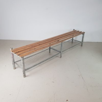 Vintage Wire Mesh and Wood Shoe Rack Bench
