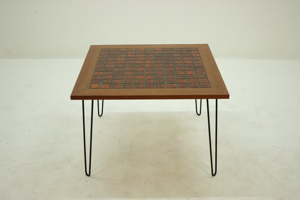 Teak And Ceramic Coffee Table On Hairpin Legs, 1960s