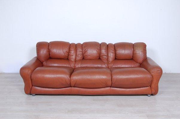 Vintage Brown Leather Sofa 1970s