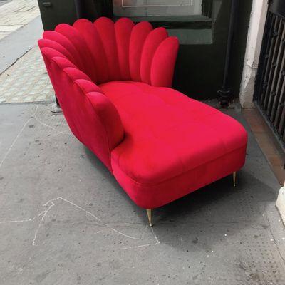 Italian Velvet Chaise Lounge 1950s For