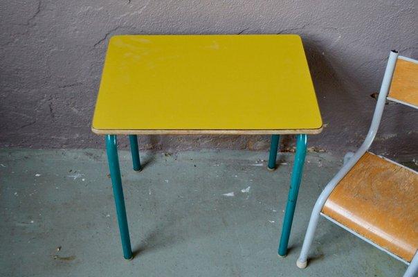 Chaise Et Bureau Pour Enfant Vintage Jaunes Image 3