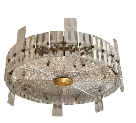 Large Mid Century Modern Chrystal Chandelier By Carl Fagerlund For Orrefors