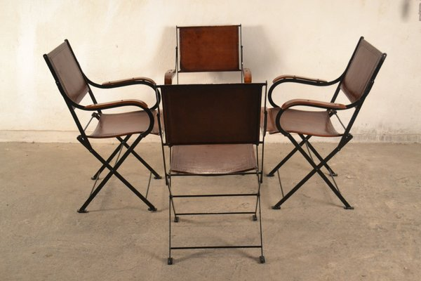 Peachy French Leather Folding Chairs 1960S Set Of 4 Caraccident5 Cool Chair Designs And Ideas Caraccident5Info