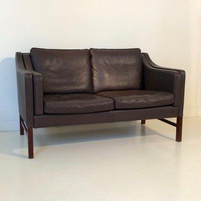 Scandinavian Brown Leather Sofa, 1970s for sale at Pamono