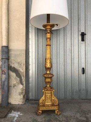 Lámpara De Pie Antigua Dorada Década De 1900 En Venta En Pamono
