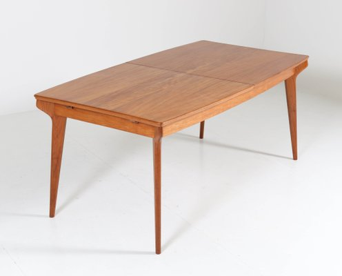 Mid Century Modern Belgian Teak Extendable Dining Room Table 1950s