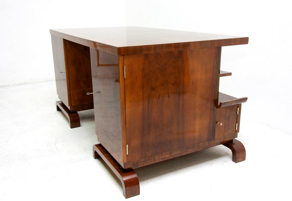 Superieur Art Deco Walnut Double Sided Desk, 1930s