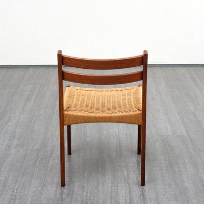 Danish Teak Wicker Chairs 1960s Set