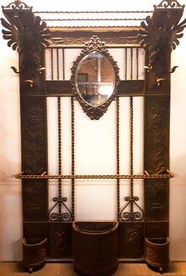 Attaccapanni in ferro battuto con specchio, anni \'20 in vendita su ...