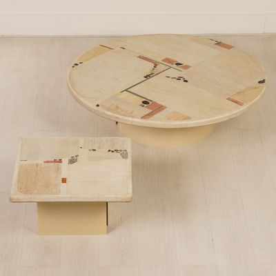 White Stone Coffee Table Set by Paul Kingma, 1982 The Exceptional