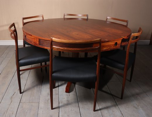 Round Rosewood Dining Table With 4 Drawers By Robert Heritage For Archie Shine 1957