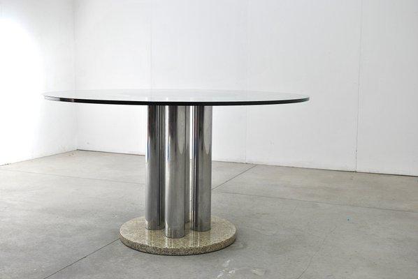Tavolo Rotondo Vetro Acciaio.Tavolo Rotondo In Vetro Acciaio E Marmo Anni 70