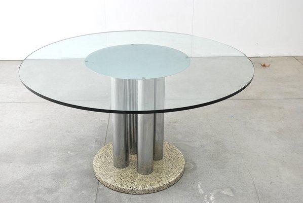 Tavoli Rotondi In Cristallo Design.Tavolo Rotondo In Vetro Acciaio E Marmo Anni 70 In Vendita Su