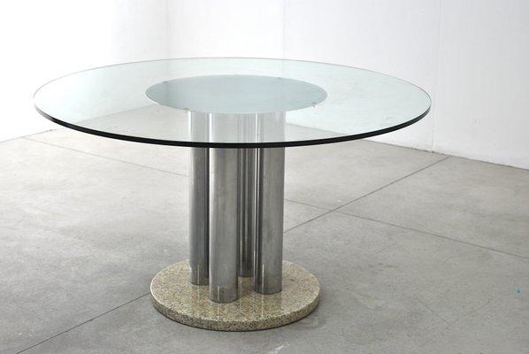 Tavolo Marmo E Cristallo.Tavolo Rotondo In Vetro Acciaio E Marmo Anni 70