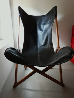 Astonishing Vintage Oak Leather Tripolina Folding Lounge Chair By Joseph Fenby Evergreenethics Interior Chair Design Evergreenethicsorg