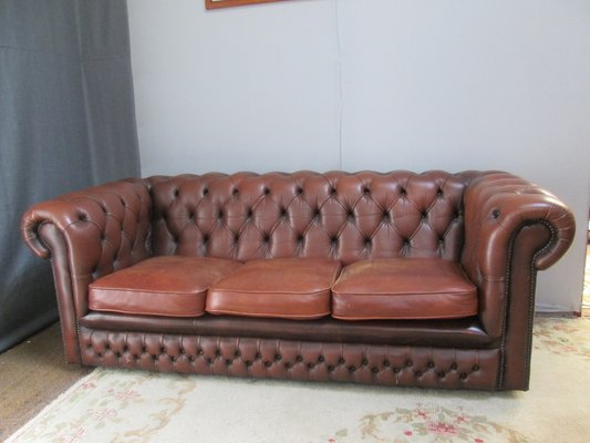 Vintage Brown Leather Chesterfield Sofa 1980s
