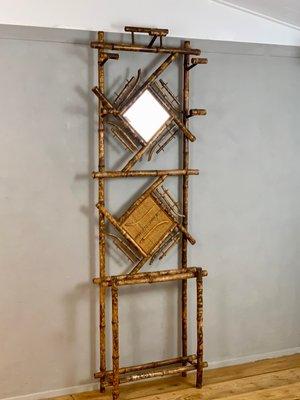 Appendiabiti Con Specchio.Appendiabiti Antico Coloniale Con Specchio E Cappelliera Francia In