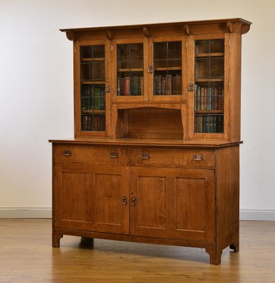Antique Arts Crafts Golden Oak Cupboard 2