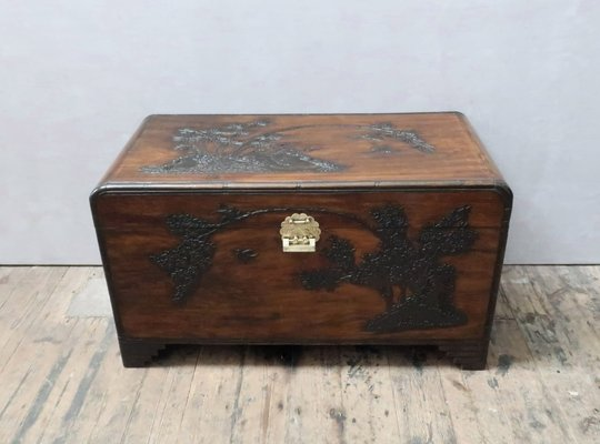 Carved Camphor Wood Chest 1920s