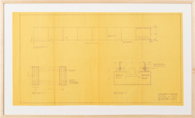Mies Van Der Rohe Design Philosophy.Illuminated Wall Details Blue Print By Ludwig Mies Van Der Rohe