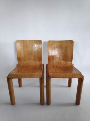 Sedie In Legno Massiccio.Sedie Moderniste In Compensato E Legno Massiccio Anni 70 Set Di 2
