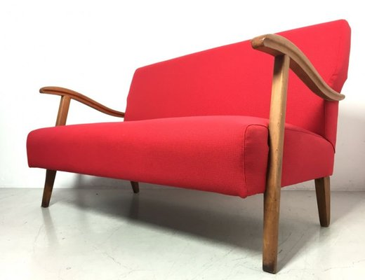 Mid-Century Red Sofa