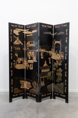 Mid Century Chinese Black Lacquer Screen 1
